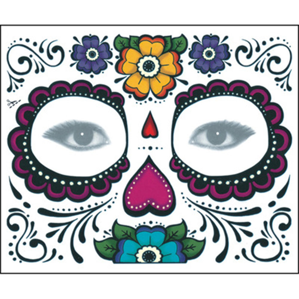 14748945c Beautiful Day of the Dead full face temporary tattoo kit features bright  red roses, petal eye circles and green leaves that are sprinkled with  sparkly ...