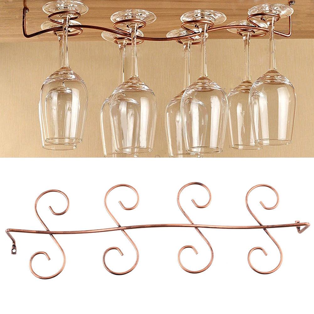 8 Wine Glass Rack Stemware Hanging Under Cabinet Holder Hanger Shelf Display