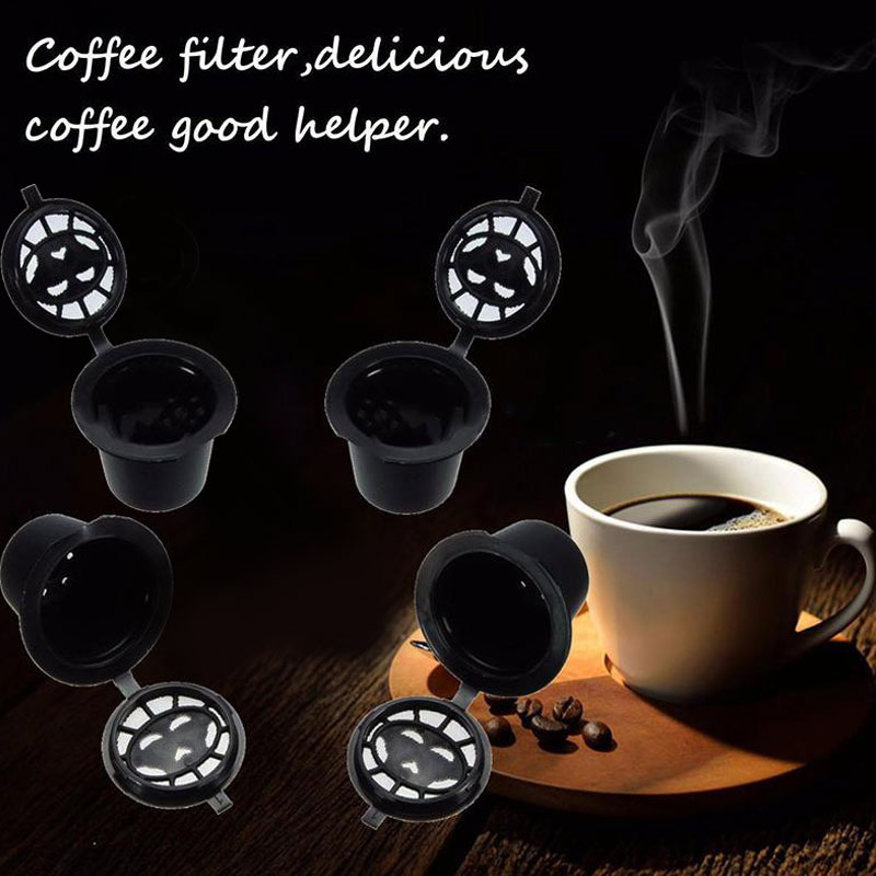 4pcs Refillable Reusable Coffee Espresso Capsules Pods Machines Filter Cups 3