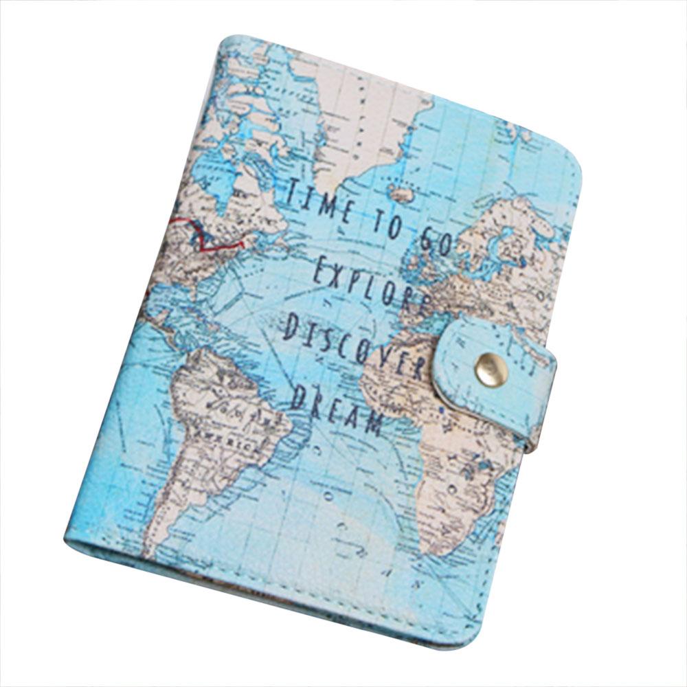 World Map Passport Holder.Faux Leather World Map Passport Cover Holder Sturdy Organizer Travel