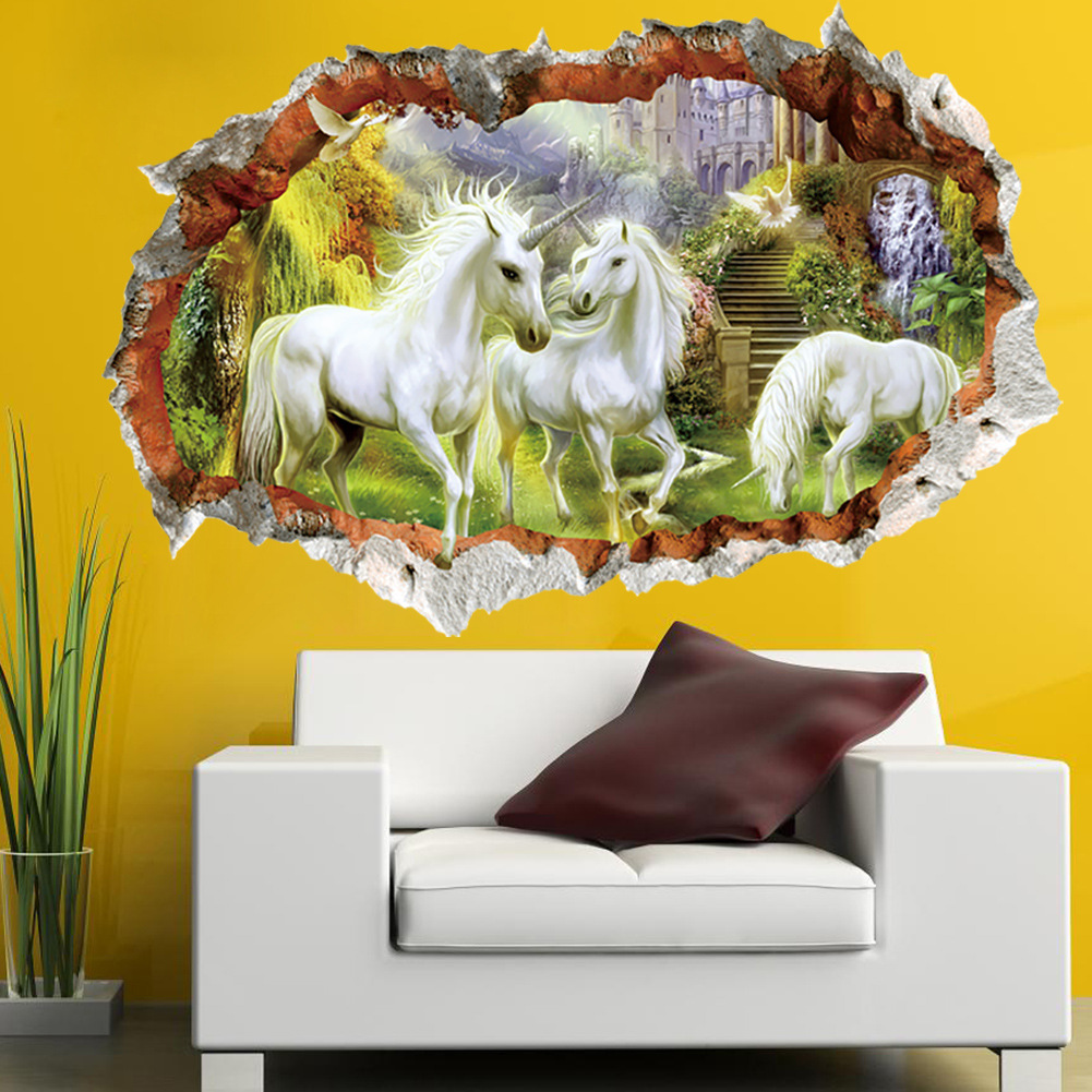 6fe8 Wall Stickers 3d Effect White Horse Living Room Decor Art Decal ...