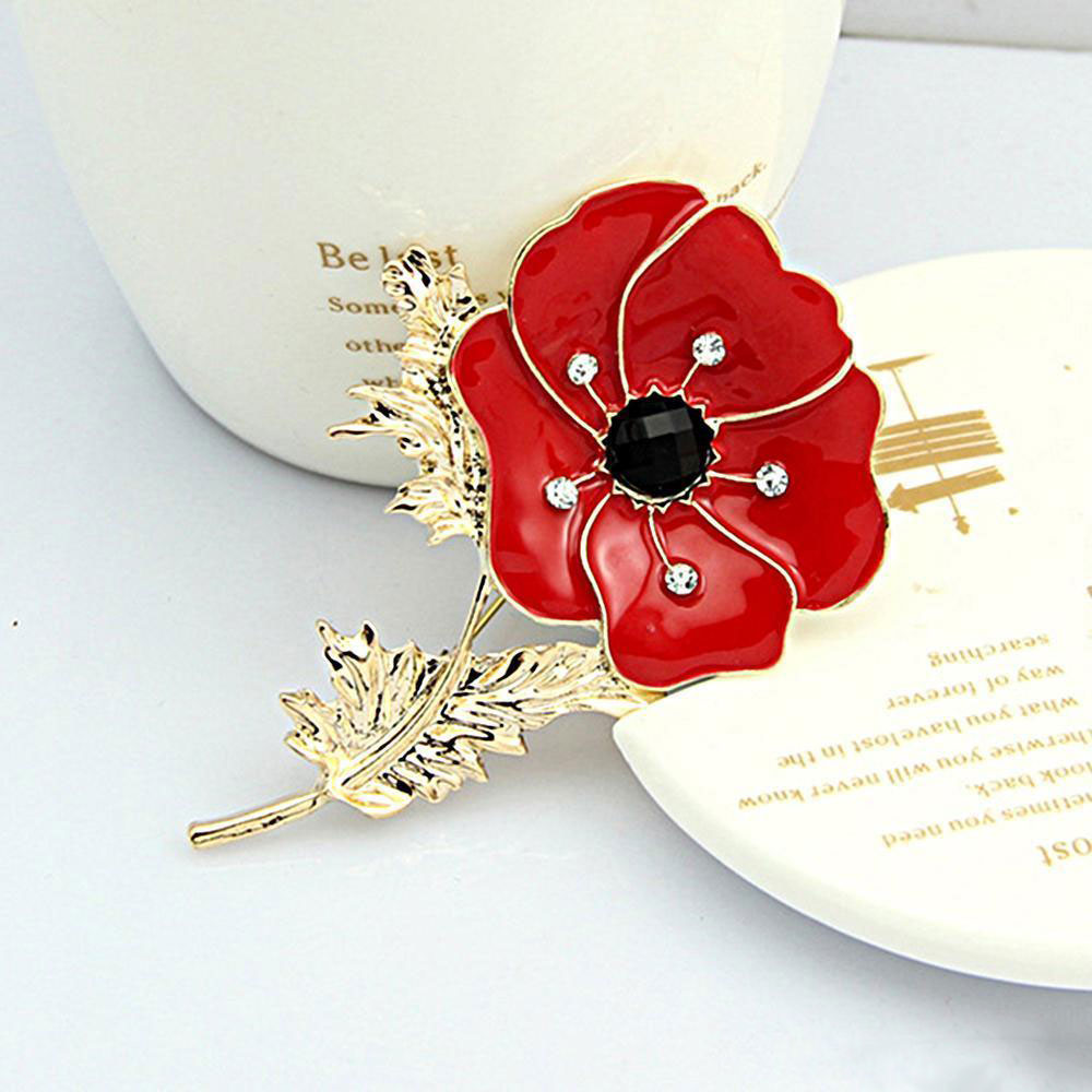 Womens Fashion Crystal Poppy Flower Brooch Pin Enamel Badge Large